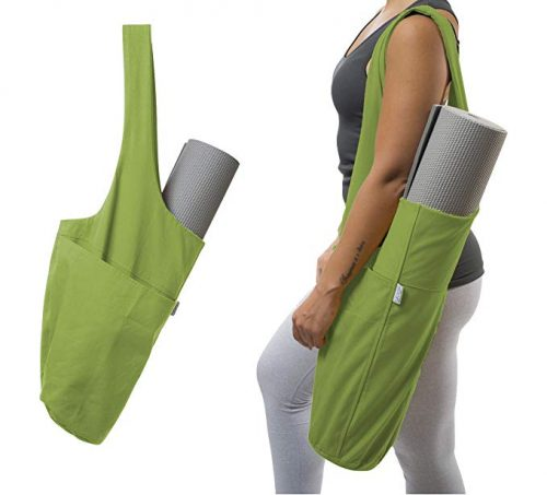 Yoga Mat Tote Sling Carrier with Large Side Pocket & Zipper Pocket