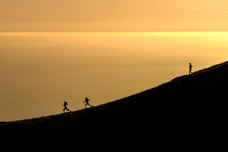 people running on mountain