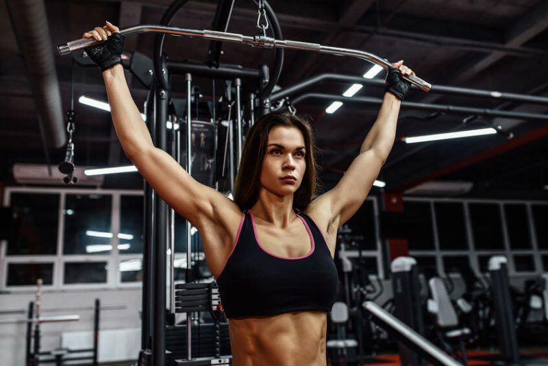 women doing pull downs