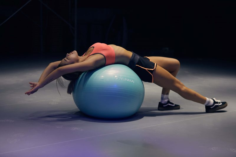 women on gym ball