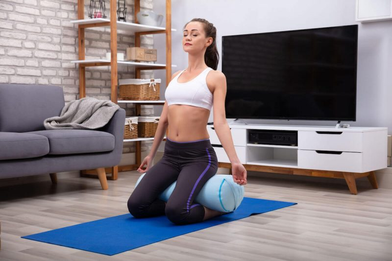yoga bolster exercise women